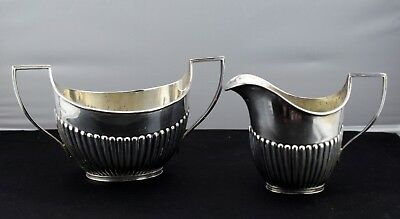 Sterling Fluted Sugar Bowl & Creamer Joseph Thomas Bradbury Sheffield 1897
