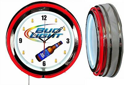 "Bud Light Beer 19"" Double Neon Clock Mancave Bar Garage Red Neon"