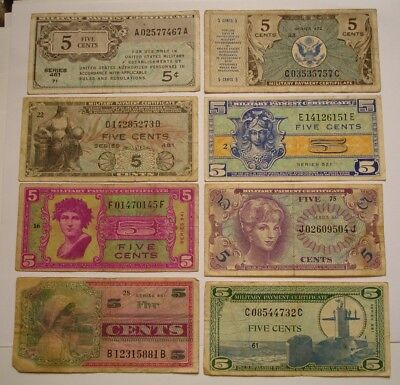 8 piece Mix Five Cent MILITARY PAYMENT Certificates NICE MIX 1946 to 1968