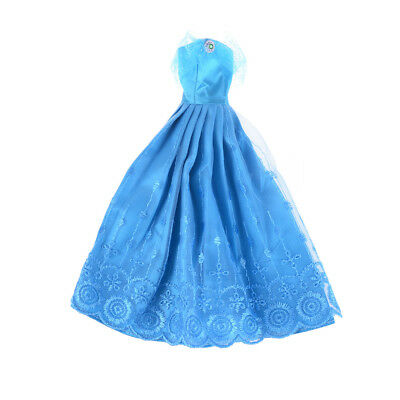 Barbie Doll Pretty Blue Princess Party Dress Evening Clothes Gown Pop UK