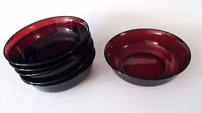 """Rare ARCOROC FRANCE RUBY RED GLASS BOWLS SET OF (6)  5 3/4"""" dia"""