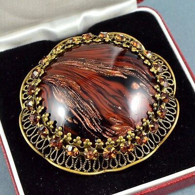 Vintage Brooch 1930s Brown Sommerso Glass & Amber Crystal Goldtone Jewellery