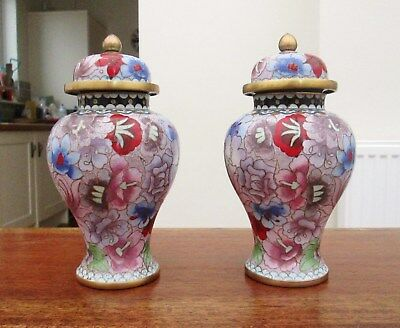 Pair of Vintage Chinese Cloisonne Ginger Jar Vases - Enamel Flower Decoration