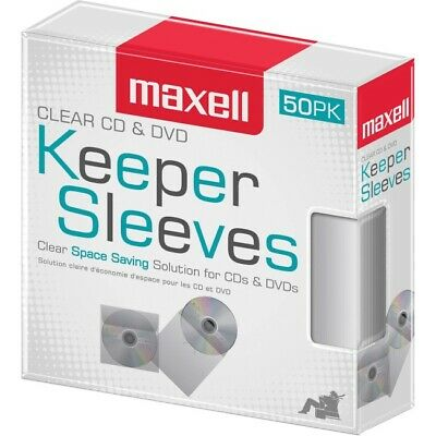Maxell CD/DVD Keeper Sleeves  Clear Plastic (50 Pack)