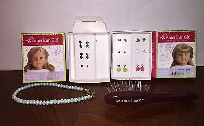 American Girl Accessory Lot I Love Pet Earrings, Hair Brush & Necklace
