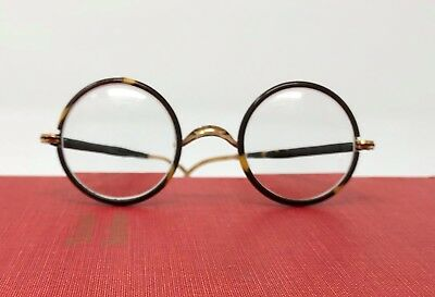 Vintage Tortoise Shell Windsor Style Round Framed Eyeglasses with Gold Arms