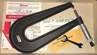 Starrett 222Br-1 Sheet Metal Micrometer .001 Grads, Ratchet Stop, Pointed Anvil