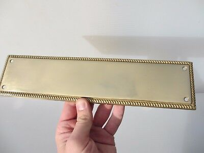 Vintage Brass Finger Plate Push Door Handle Antique Georgian Style Rope Edge Old