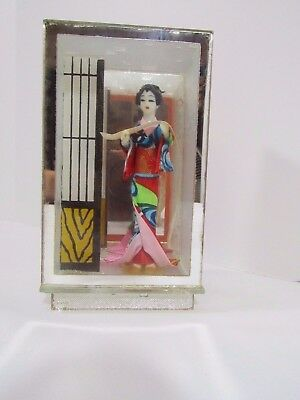 "Japanese Geisha Doll In Mirrored Sealed In Glass Box 5 1/4"" Tall"