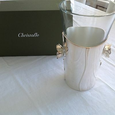 "Christofle Anemone ""belle Epoque"" Silverplate/crystal Stunning Exquisite Vase"