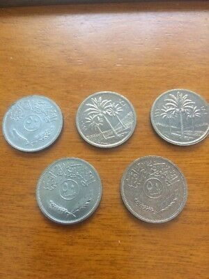 Iraq 25 Fils Coin, 1981 UNC, Palm Trees, 20 mm LOT of 5 Coins