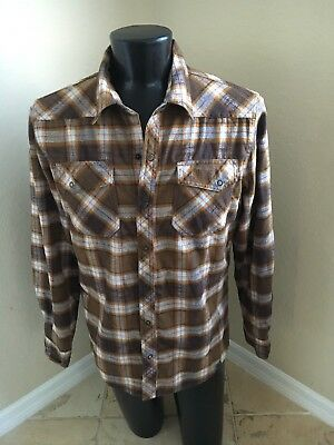 LL Bean Mens Flannel Shir Plaid Brown Snap Button Poly Wool Size Large