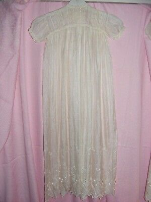 Antique White All Silk Child's Robe Christening Gown Lace Embroidered Hand Made