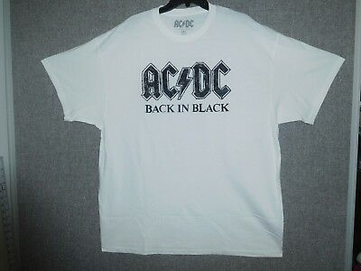 AC/DC Men's Back in Black Letters sz 2XL White T-shirt vintage style