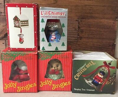 Lot Of 5 New In Box Christmas Chimes Bells Vintage Christmas Ceramic Bells