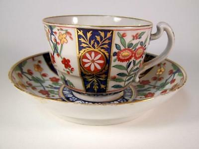 18C Worcester Dr Wall 1st Period Queens Pattern Tea Cup & Saucer