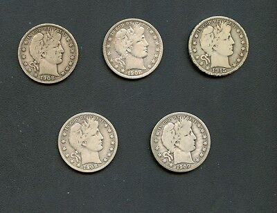 Mixed Lot Of Barber Half Dollars (5 pieces) (As Pictured)
