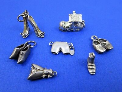 Vintage Sterling Silver - Lot of 7 - Charms - Shoes & Fly 11.3 Grams