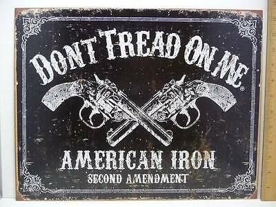 "Don't Tread On Me American Iron Second Amendment Tin Metal Sign 12 1/2"" x 16"" Ne"