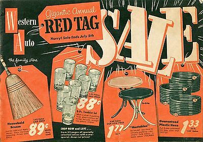 Vintage 1950's Western Auto Annual Red Tag Sale Catalog * Bikes Lawn Mowers Etc