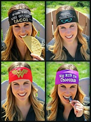 SLOGANZ by RAVEbandz No Slip Wide Hippie Athletic Headbands for Women and Girls