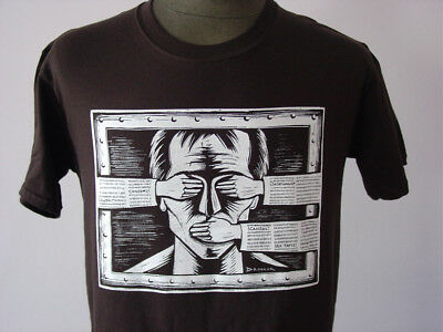 CENSORED ★ softly Eric Drooker T-Shirt * NEU * Siebdruck * But Alive * brown