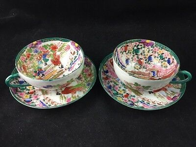 Set of 2 Japan Signed Suzuki Co. Porcelain Hand Painted Eggshell Cups & Saucers