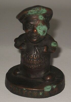 Antique Thatcher Furnaces Cast Iron Figural Chef Advertising Paperweight #BE49