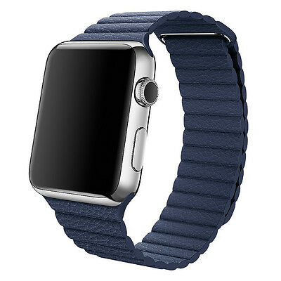 Genuine Apple 42mm Leather Loop Watch Band Medium - Midnight Blue (MLHL2ZM/A) UD