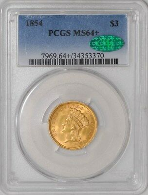 1854 $3 Gold Indian MS64+ PCGS ~ CAC