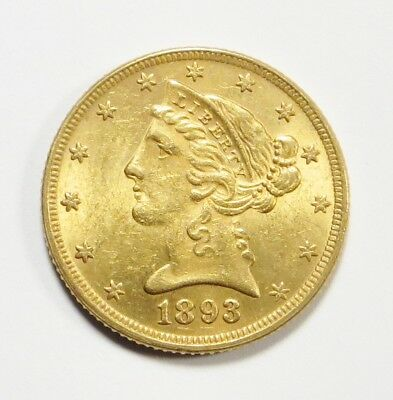 1893-S  LIBERTY HEAD $5 HALF EAGLE Gold Coin