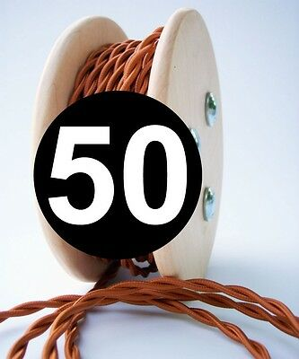 Copper Cloth Covered Twisted Wire 50ft Roll - Lamp Cord - Antique Fan Rewire