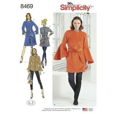 Women's Bell Sleeve Coats and Jackets with Gilet Simplicity Sewing Pattern 8469