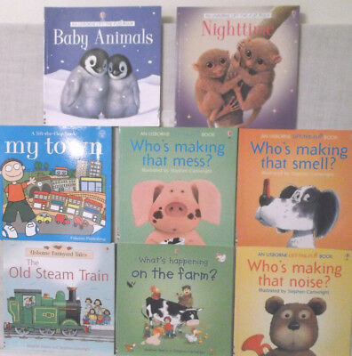 Usborne Books-6 Lift the Flap & 3 others, My Town, Nighttime, Baby Animals, Zoo