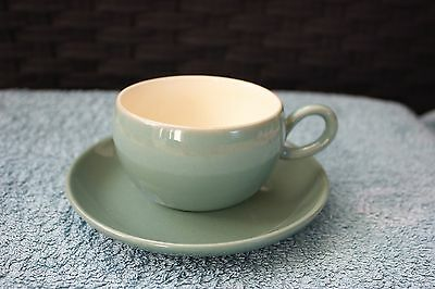 Vintage Denby Manor Green stoneware cup and saucer (1970-80s)
