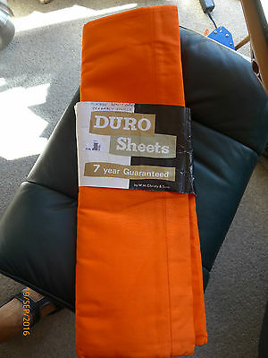 """Pair Retro 1970's Solid Orange Double Sheets - Duro By English Brand """"christy"""""""
