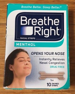 10 Breathe Right MENTHOL Nose Strips Nasal Adult Size Small Medium Stop Snoring