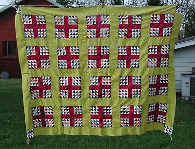 """Vintage Antique Colorful Patch Work Quilt Top, Hand and Machine Sewn 69"""" x 56"""""""