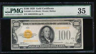 AC 1928 Fr 2405 $100 Gold Certificate PMG 35 comment