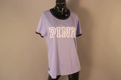 NWT $26.95 Pink Victoria's Secret Large Logo Purple Ringer T-Shirt Cotton Blend