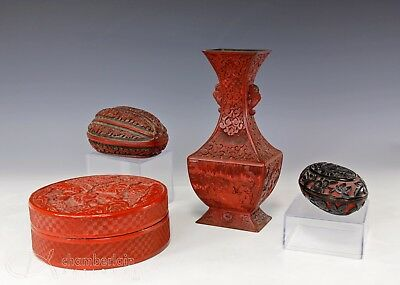 Four Piece Lot Of Old Antique Chinese Carved Lacquer Cinnabar Box Vase Etc