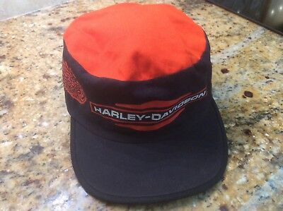Vintage Harley Davidson USA Black w  orange wings   top Painters Cap  Adjustable 9565cda74d0