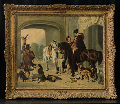 "Antique 19th Century European Oil Painting ""Upperclass Courtyard Scene"" Signed"
