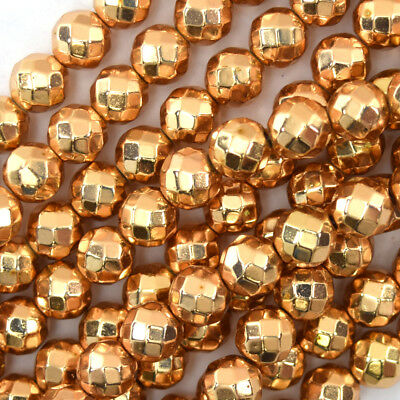 """Faceted Rose Gold Hematite Round Beads 15.5"""" Strand 2mm 4mm 6mm 8mm 10mm 12mm"""