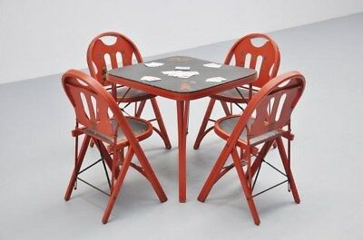 "1920s Solid Kumfort"" Folding Chairs by Louis Rastetter & Sons With Folding Table"