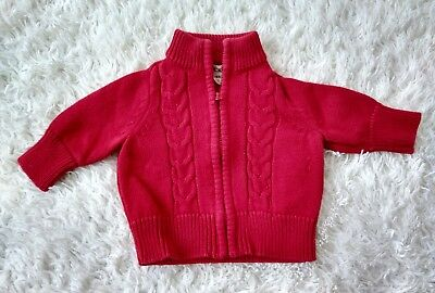 CHEROKEE BABY BOY NB Sweater Red Cable Knit WINTER CHRISTMAS PARTY HOLIDAY 0-3