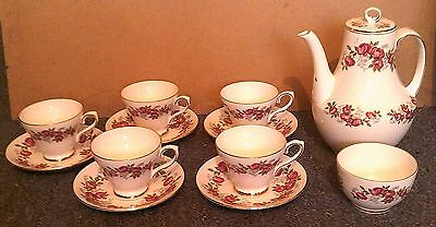 Royal Sutherland Vintage 12 Piece Coffee Set, Red Roses and Gold Trim
