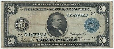 1914 US $20 Federal Reserve Large Note Blue Seal 7-G Chicago Illinois F-990