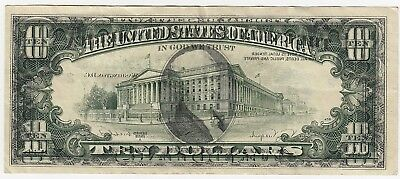 1988 A US $10 Federal Reserve Note MINT ERROR FACE ON BACK OFFSET TRANSFER
