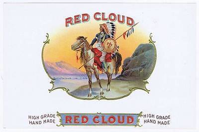 Red Cloud Native American Indian on horse original outer cigar box label
